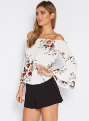Women's Fashion Off The Shoulder Flare Sleeve Floral Printed Blouse