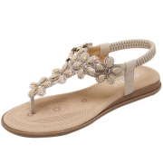Women's Casual Summer Rhinestone Elastic Back Strap Thong Sandals