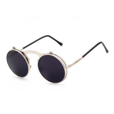 b4666412d Women's Fashion Retro Flip Up Round Circle Lens Stempunk Sunglasses -  STYLESIMO.com