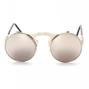 Women's Fashion Retro Flip Up Round Circle Lens Stempunk Sunglasses