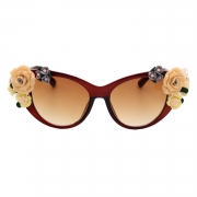 Women's Charming Plastic Baroque Style Flower Decoration Uv Sunglasses