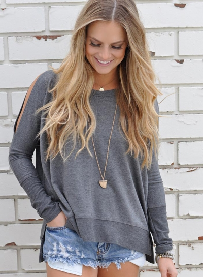 Women's Charming Off Shoulder Long Sleeve Slit Pullover Tee