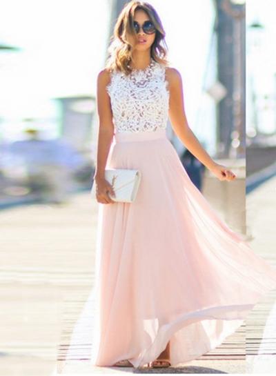 Elegant Sleeveless Lace Chiffon Evening Party Dress