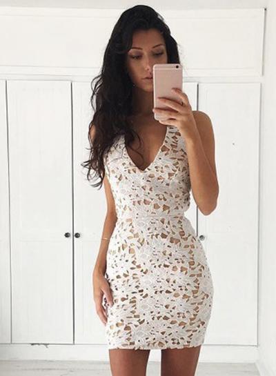 Sexy Slim V Neck Sleeveless Lace Bodycon Short Party Dress