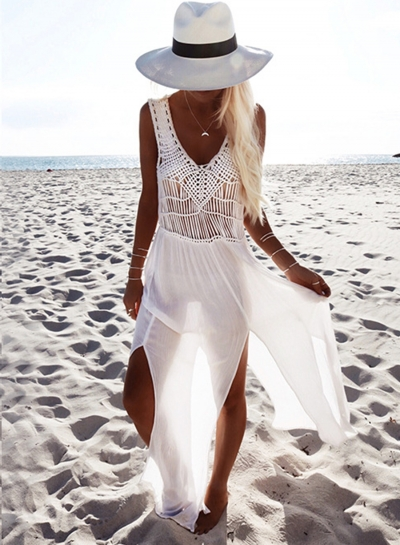 Charming Ankle Length V Neck Sleeveless Slit Chiffon Beach Dress