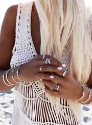 Charming Ankle Length V Neck Sleeveless Slit Chiffon Beach Dress