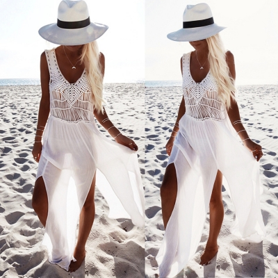 6c1daf7d3f Charming Ankle Length V Neck Sleeveless Slit Chiffon Beach Dress -  STYLESIMO.com