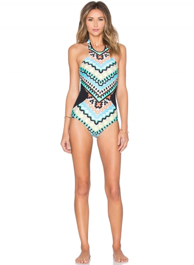 Women's Slim High Elasticity Halter Neck Backless Printed One Piece Swimsuit