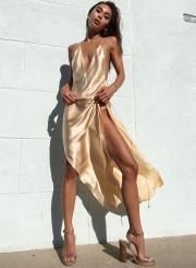 Sexy Women's Deep V Neck Backless High Slit Night Club Dress