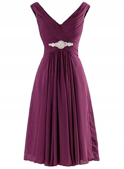 Women's V Neck Sleeveless Pleated Club Cocktail Party Dress