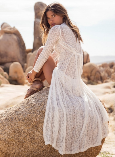 Sexy Women's Boho Lace Beach Long Cardigan Ankle Length Dress