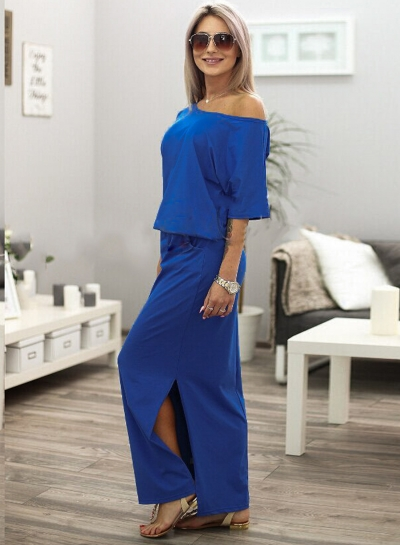 Fashion Women's Half Sleeve Side Slit Round Neck Maxi Dress