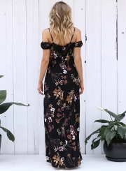 Short Sleeve Off Shoulder Floral Printed High Slit Dress