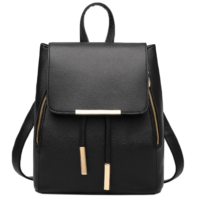 Women's PU Leather Drawstring Zipper Backpack