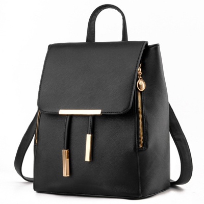 Women's PU Leather Drawstring Zipper Backpack stylesimo.com