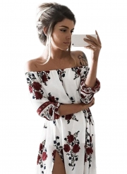 Women's PUff Sleeve Off Shoulder Floral Printed Maxi Dress