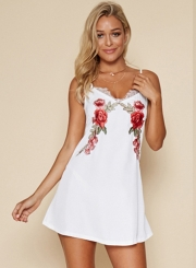 A-Line Spaghetti Strap Sleeveless Floral Embroidery Mini Dress