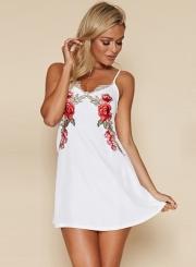 A-Line Spaghetti Strap Sleeveless Floral Embroidery Mini Dress