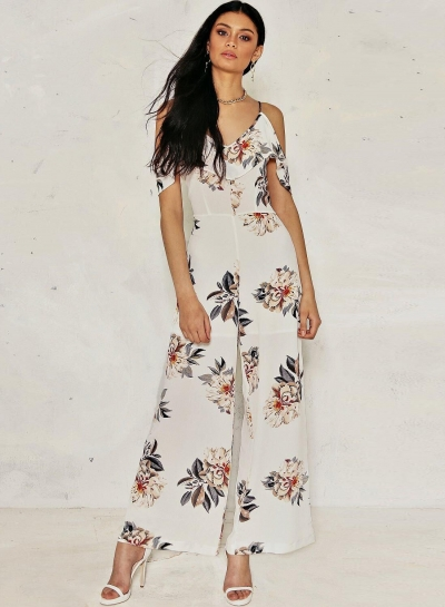 Women's Off Shoulder Floral Printed Ruffle Wide-Leg Jumpsuit