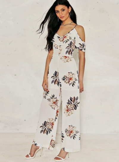 660a80693887 Women's Off Shoulder Floral Printed Ruffle Wide-Leg Jumpsuit - STYLESIMO.com