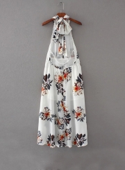 Fashion Halter Backless Floral Printed Asymmetrical Dress
