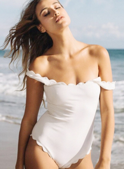 Sexy Women's Slim Fit Scalloped One Piece Swimsuit