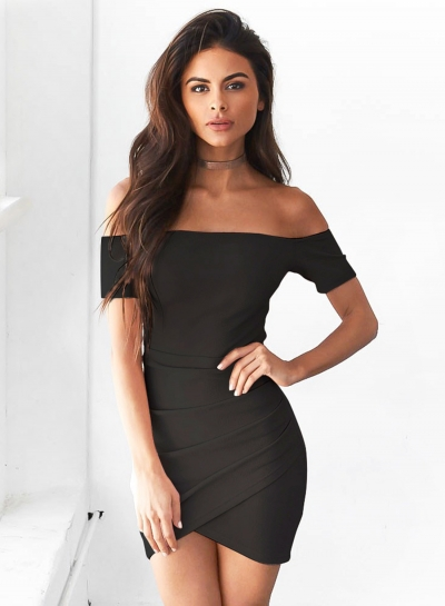 Short Sleeve Off Shoulder Bodycon Irregular Dress