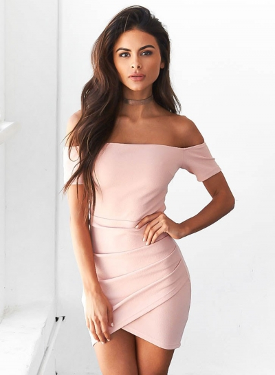 26f14d07c Short Sleeve Off Shoulder Bodycon Irregular Dress - STYLESIMO.com