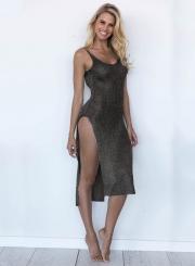 Women's High Slit Scoop Cover Up Knitted Beachwear