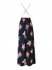 A-Line Backless Floral Printed High Slit Maxi Dress