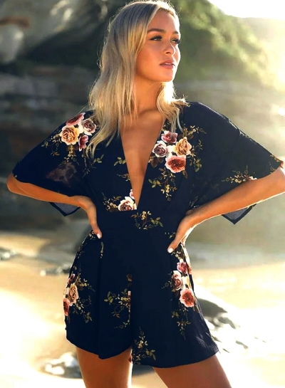 Women's Deep V Neck Half Sleeve Backless Floral Printed Romper