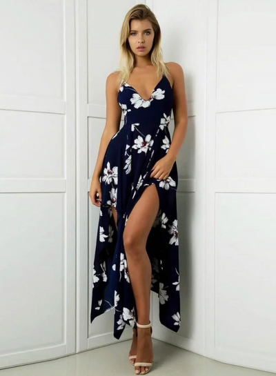 Sleeveless Floral Printed High Slit High Low Maxi Dress