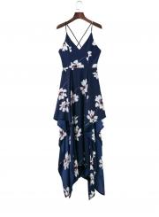 Sleeveless Floral Printed High Slit High Low Maxi Dress