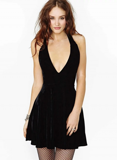 V Neck Sleeveless Back Cross Strap Mini Night Club Dress