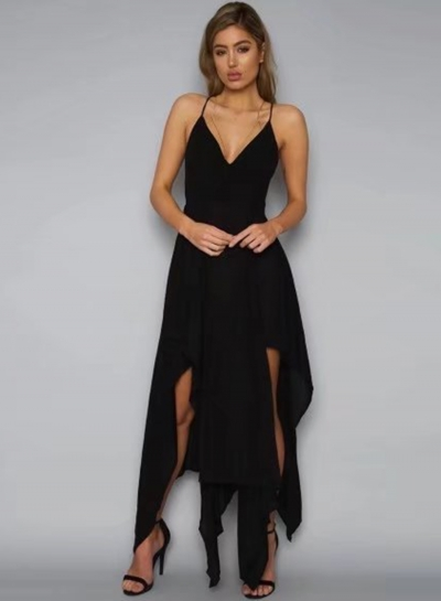 Fashion paghetti Strap Sleeveless Asymmetrical Dress