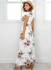 ... Elegant V Neck Short Sleeve High Split Floral Printed Maxi Dress ... e4735f2d9