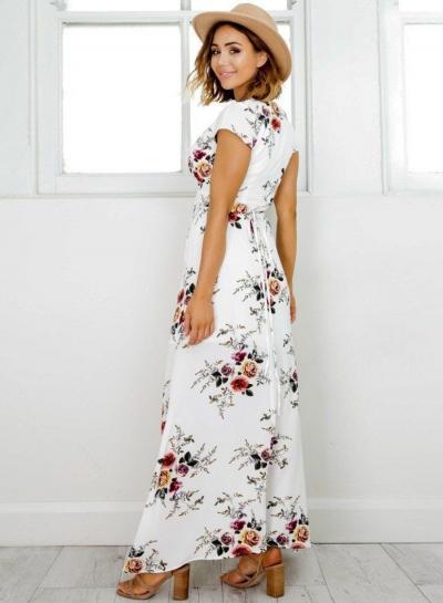 699f8fb284 Elegant V Neck Short Sleeve High Split Floral Printed Maxi Dress -  STYLESIMO.com