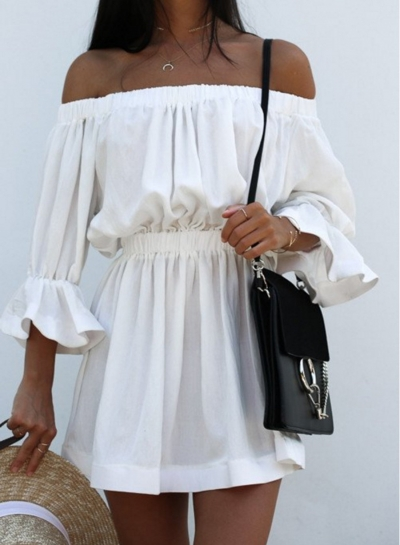 Half Sleeve Off Shoulder Elastic Waist Casual Dress