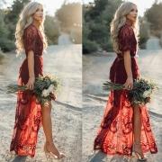 Pretty Deep V Neck Short Sleeve High Waist Lace Dress