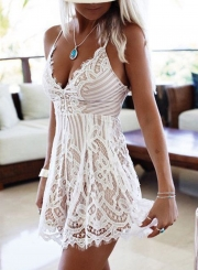 Women's Spaghetti Strap Backless Floral Lace Romper