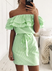 Short Sleeve Striped Off Shoulder Ruffle Day Dress with Belt