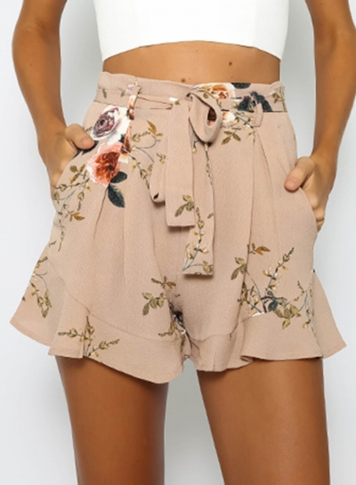 Fashion Women's Floral Printed Ruffle Loose Shorts with Belt