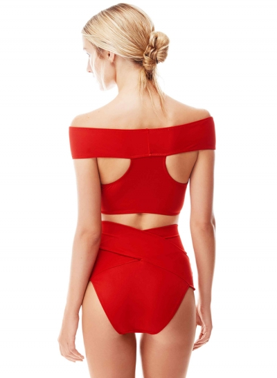 Bandeau Two Piece Solid Cross Padded Bikini Set
