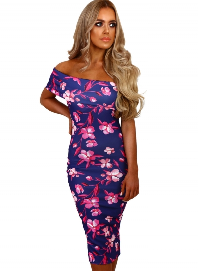 Fashion Off Shoulder Floral Bodycon Midi Night Club Dress