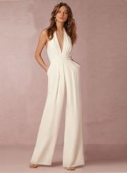 Women's White Halter Sleeveless Backless Jumpsuit