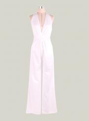 c1dd99c0ea Women s White Halter Sleeveless Backless Jumpsuit - STYLESIMO.com