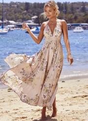 V Neck Sleeveless Backless Floral Printed Maxi Bohemian Dress