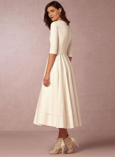 a984e6dd24 A-Line V Neck Half Sleeve Midi Party Dress - STYLESIMO.com