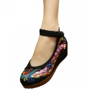 Women's Embroidery Platform Wedge Heels Old Beijing Shoes