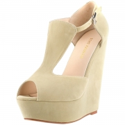 Women's Peep Toe Buckle Wedge High Heels Sandals